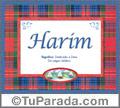 Nombre Tarjeta con imagen de Harim para feliz cumpleaños