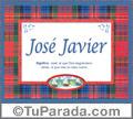 Nombre Tarjeta con imagen de José Javier para feliz cumpleaños