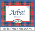 Asbai, nombre, significado y origen de nombres