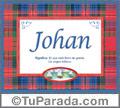 Nombre Tarjeta con imagen de Johan para feliz cumpleaños