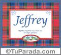 Nombre Tarjeta con imagen de Jeffrey para feliz cumpleaños