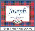 Nombre Tarjeta con imagen de Joseph para feliz cumpleaños