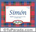 Nombre Tarjeta con imagen de Simón para feliz cumpleaños