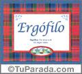 Nombre Tarjeta con imagen de Ergófilo para feliz cumpleaños