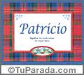 Nombre Tarjeta con imagen de Patricio para feliz cumpleaños