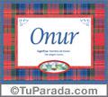Nombre Tarjeta con imagen de Onur para feliz cumpleaños