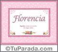 Nombre Tarjeta con imagen de Florencia para feliz cumpleaños