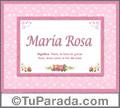 Maria Rosa - Significado y origen
