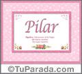 Nombre Tarjeta con imagen de Pilar para feliz cumpleaños