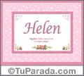 Nombre Tarjeta con imagen de Helen para feliz cumpleaños