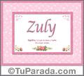 Nombre Tarjeta con imagen de Zuly para feliz cumpleaños