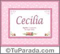 Cecilia - Significado y origen