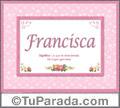Francisca, nombre, significado y origen de nombres