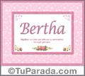 Bertha, nombre, significado y origen de nombres