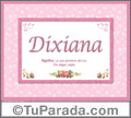 Dixiana, nombre, significado y origen de nombres