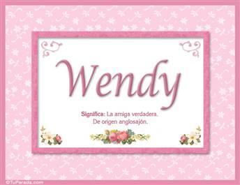 Wendy, nombre, significado y origen de nombres