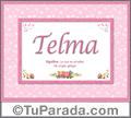 Nombre Tarjeta con imagen de Telma para feliz cumpleaños