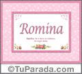 Romina, nombre, significado y origen de nombres
