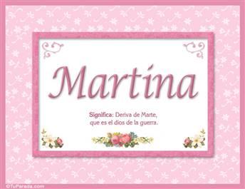 Martina, nombre, significado y origen de nombres