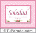 Soledad, nombre, significado y origen de nombres