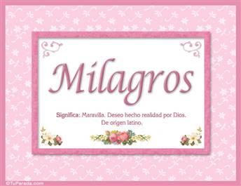 Milagros, nombre, significado y origen de nombres