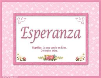 Esperanza, nombre, significado y origen de nombres