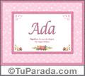 Nombre Tarjeta con imagen de Ada para feliz cumpleaños