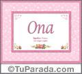 Nombre Tarjeta con imagen de Ona para feliz cumpleaños