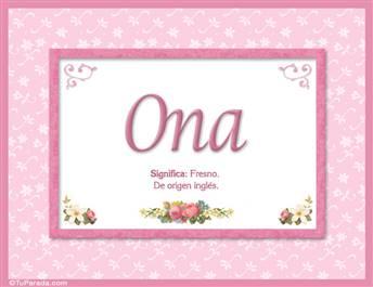 Ona, nombre, significado y origen de nombres