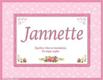 Jannette, nombre, significado y origen de nombres