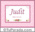 Nombre Tarjeta con imagen de Judit para feliz cumpleaños