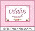 Nombre Tarjeta con imagen de Odalys para feliz cumpleaños