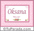 Oksana, nombre, significado y origen de nombres