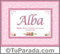 Alba, nombre, significado y origen de nombres
