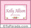 Kelly Allison, nombre, significado y origen de nombres