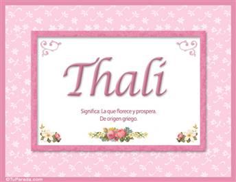 Thali, nombre, significado y origen de nombres