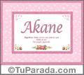 Akane, nombre, significado y origen de nombres