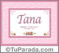 Tana, nombre, significado y origen de nombres
