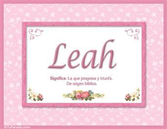 Leah, nombre, significado y origen de nombres