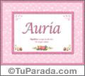 Auria, nombre, significado y origen de nombres
