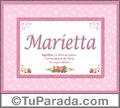 Marietta, nombre, significado y origen de nombres