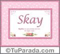 Nombre Tarjeta con imagen de Skay para feliz cumpleaños