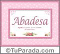 Abadesa, nombre, significado y origen de nombres