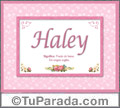 Nombre Tarjeta con imagen de Haley para feliz cumpleaños