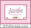 Nombre Tarjeta con imagen de Jasibe para feliz cumpleaños