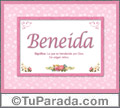 Beneida, nombre, significado y origen de nombres