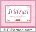 Nombre Tarjeta con imagen de Irideysi para feliz cumpleaños