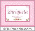 Enriqueta, nombre, significado y origen de nombres