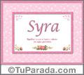 Nombre Tarjeta con imagen de Syra para feliz cumpleaños
