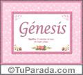 Nombre Tarjeta con imagen de Génesis para feliz cumpleaños